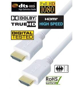 High Speed HDMI Weiss Kabel Vergoldete Kontakte, Länge 5m