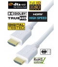 High Speed HDMI White Cable, Gold Plated Connector, 10m